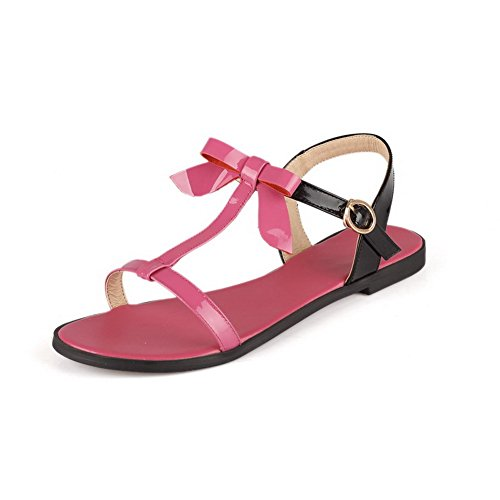 VogueZone009 Women's Open Toe No-Heel PU Assorted Color Buckle Flats-Sandals Rosered cdhLltt