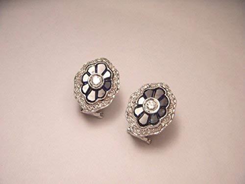 (Antique Estate 14K White Gold Sapphire Diamond Earrings)