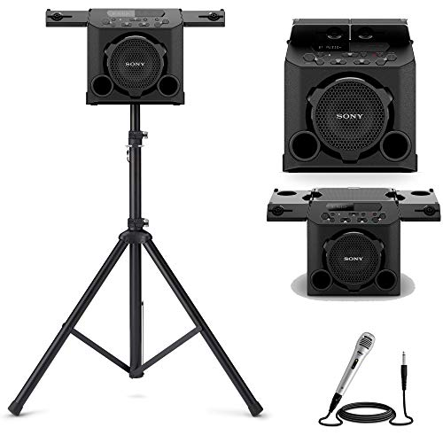 Sony GTK-PG10 Portable Wireless Speaker with Speaker Stand and Microphone Bundle