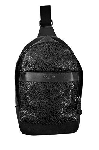 Coach New York Men's F11236 Leather Baseball Seam Crossbody Messenger Backpack Black