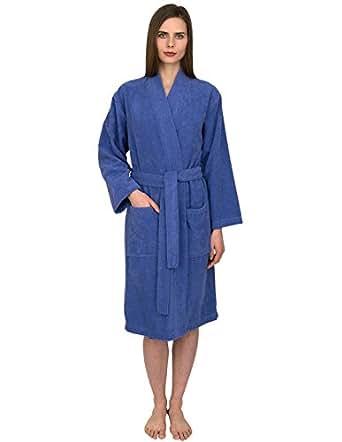 TowelSelections Women's Robe Turkish Cotton Terry Kimono Bathrobe X-Small/Small Blue Iris