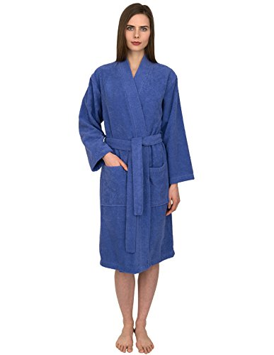 TowelSelections Women's Robe Turkish Cotton Terry Kimono Bathrobe X-Small/Small Blue Iris