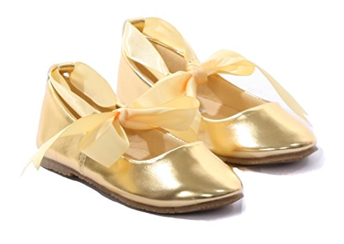 (Ballerina Ribbon Tie Rubber Shoes Cinderella Flats Girls Party Gold Size)