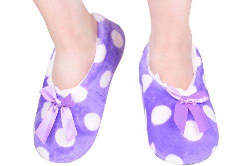 Fuzzy Purple Slippers Home Wear Slippers Plush House Slippers Size9-11 Purple
