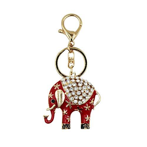 Cute Elephant Keychain Sparkle Crystal Keyring Shiny Key Organizer Bejeweled Decoration for Bag Purse ()