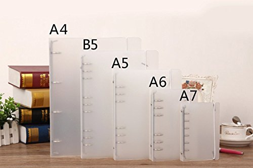 auch 1pc clear plastic a4  a5  a6  a7  b5 cover round ring view binder file folder for loose leaf
