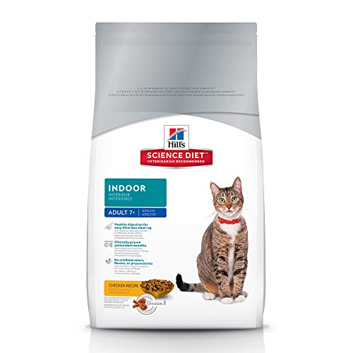 Hill's Science Diet Dry Cat Food, Adult 7+, Indoor, Chicken Recipe, 15.5 lb bag