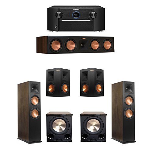 Klipsch Walnut 5.2 System with 2 RP-280FA Tower Speakers, 1 RP-450C Center Speaker, 2 RP-250S Ebony Surround Speakers, 2 BIC/Acoustech PL-200 II Subwoofers, 1 Marantz SR7011 A/V Receiver by Klipsch