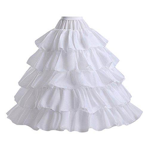 Make you perfect Petticoat Skirt for Women 5 Ruffles 4 Hoops Skirt Ball Gown Petticoat Crinoline Underskirt Slip