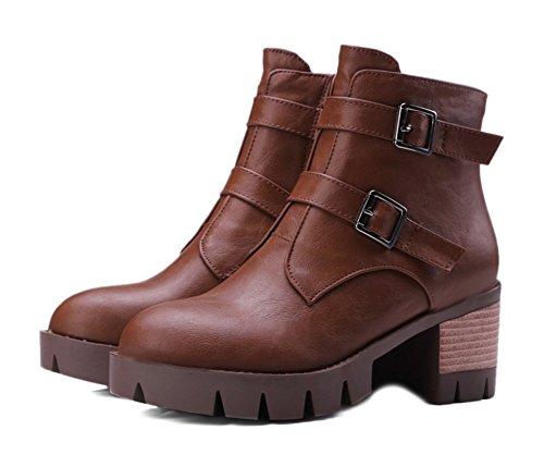 Aisun Damen Retro Stiefelband Martin Blockabsatz Low Ankle Biker Boots Braun