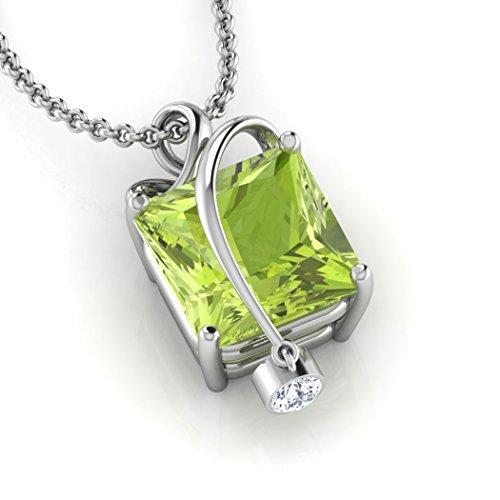 14K jaune Or 0,01carat au total Round-cut-diamond (IJ | SI) et péridot Pendentif