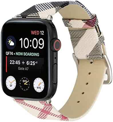 Watch Band 38mm 42mm 40mm 44mm Leather Plaid Replacement Watch Strap for iWatch Series 4 3 2 1 Nike+