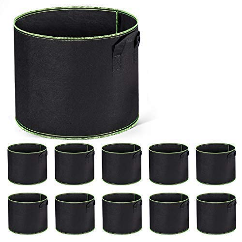 Cavisoo 10-Pack 7 Gallon Plant Grow Bags Heavy Duty 300G Thickened Non-Woven Aeration Fabric Pots with Reinforced Handles