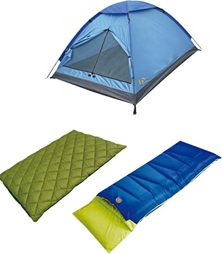 High Peak USA Alpinizmo Florida Pilot 20 Sleeping Bags & 3 Monodome Combo Tent, Green/Blue, One Size Review