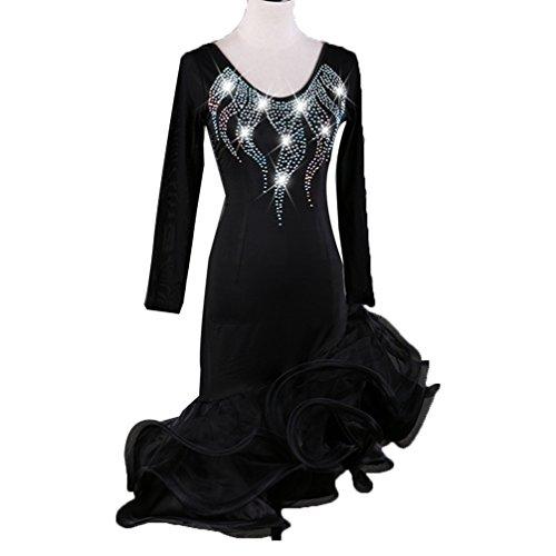 l Di Leotard Latino A Ballo Qualità Lunghe Prestazione Danza Vestito Donne Costume Black Maniche Da Concorso Alta Drill Wqwlf Xl Latina Tuta Per Flash UqZgYq