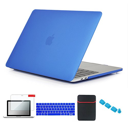 Se7enline 13 inch MacBook Pro Case with/without Touch Bar Matte Hard Cover for MacBook Pro 13-inch Model A1706/A1708/A1989/A2159 with Sleeve Bag, Keyboard Cover, Screen Protector, Dust Plug, Deep Blue