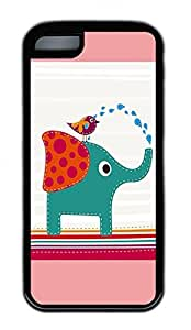 Lovely Elephants And Birds Lovely Mobile Phone Protection Shell For iPhone 5c Cases - Unique Cool Black Soft Edge Case