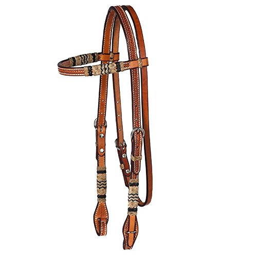 (NRS Rawhide Browband Headstall with Quick Change Bit Ends )