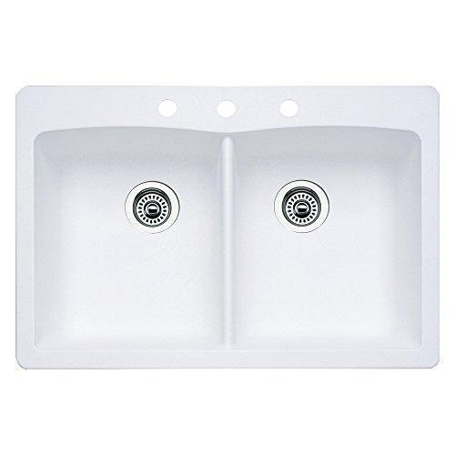 ond 3-Hole Double-Basin Drop-In or Undermount Granite Kitchen Sink, White ()