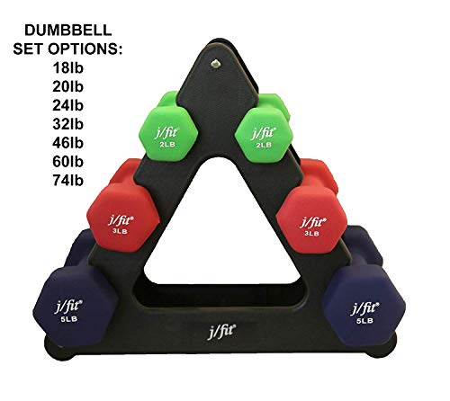 j/fit Dumbbell Set w/Durable Rack | Solid Design | Double Neoprene Coated Workout Weights Non-Chip and Flake | Dumbbells Sets For Gyms, Pilates, MMA, Training (20lb Set)