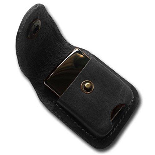 Handmade Fliptop Leather Lighter Pouch Holder Case with Pocket Belt Loop (Black)