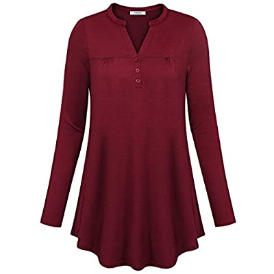Top Youtalia Women's Long Sleeve V Neck Pleated Basic Casual Henley Tunic Tops supplier