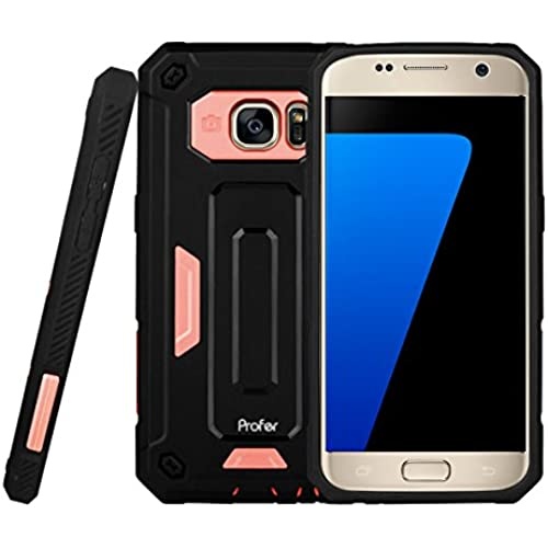 S7 Case,Profer [Heavy Duty] Dual Layer Armor Holster Defender Full Body Protective Hybrid Wallet Case Card Slots Sales