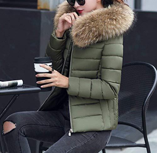 Monocromo Con Elegante Corto Cappotto Cappuccio Grün Giacca Caldo Piumini Fit Mantello Invernali Slim Women Donna Di Pelliccia Moda Giovane Sintetica qwSRY76