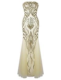 Angel-fashions Women's Strapless Sequin Mermaid Tulle Gatsby Wedding Dress