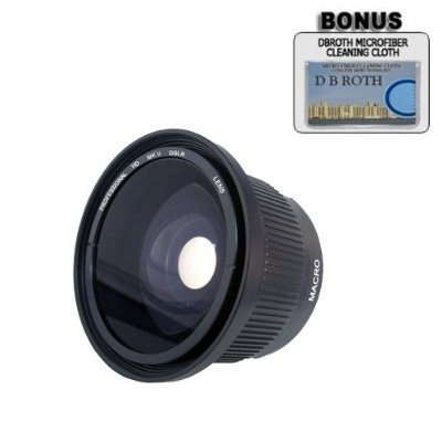 .42x HD Super Wide Angle Panoramic Macro Fisheye Lens For The Sony DCR-SX83, SR68, SR88, HDR-XR100 Handycam Camcorder by DB