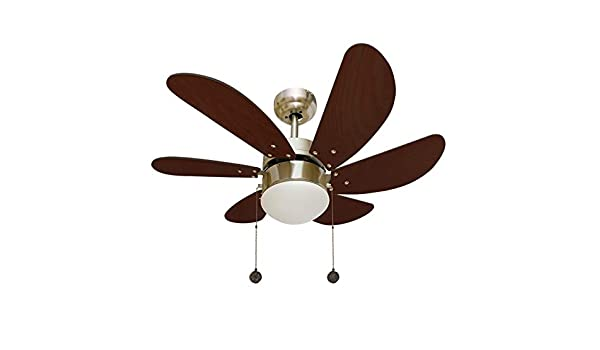 003 Ventilador de techo con luz 1XE27 acabado cuero/cerezo, 6 ...