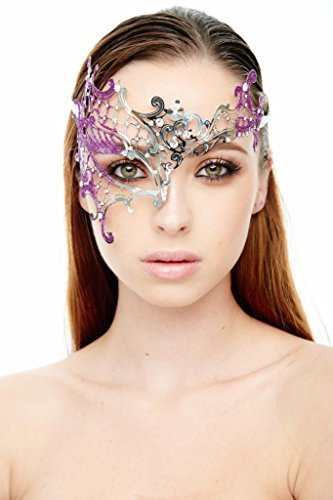 [KAYSO INC Signature Silver Phantom Of The Opera Venetian Laser Cut Masquerade Mask w/ Glitters,] (Purple Feather Mask)