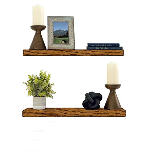 Office Advantage 24' Storage - Floating Shelves Wood Floating Shelves Set - New England Handcrafted Rustic Pine Kitchen Office Bedroom Wall Mounted Smooth Finish Organizers 2 Pack (2'' x 7.5'' x 24'' & 36
