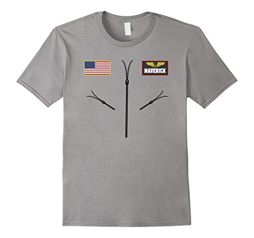 Maverick Halloween Costume (Mens Maverick Jet Fighter Pilot Halloween Costume T-shirt Medium Slate)