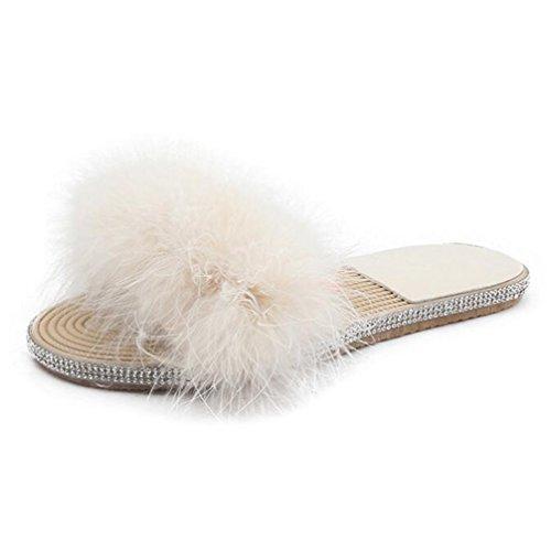 Mules Toe Pantoufles Fluffy Faux Fourrure Plates Sandales Confortable Casual Chaussures Flop White Chaussures Ouvert Doux Flip TWGDH wEq07xz5Rz