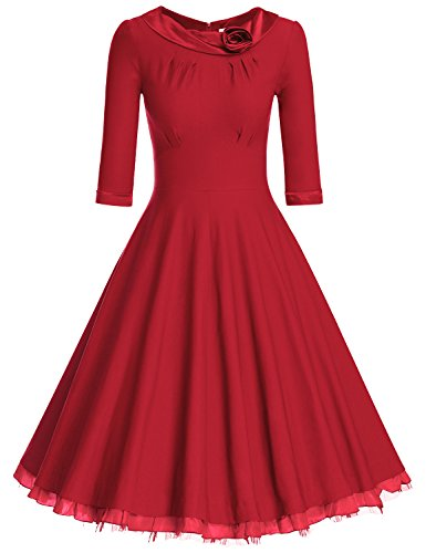 (MUXXN Women's 1950s Vintage 3/4 Sleeve Rockabilly Swing Dress(XL,Red))