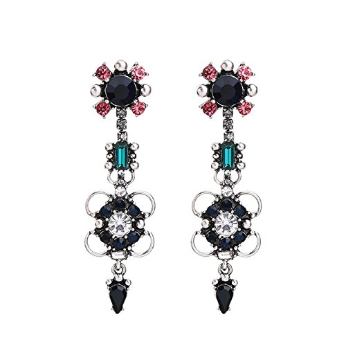 Classic & Fashion Crystal Flowers Long Earrings Alloy Vintage Earrings for Women Brand Jewelry - Marina And The Diamonds Emoji Costume