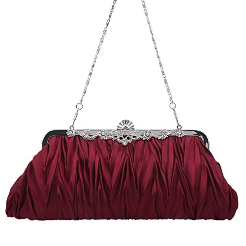 Wedding Women Purses Purplish Red For And Clutches Clutch Party Evening Satin Pleated Bonjanvye qfX8aa