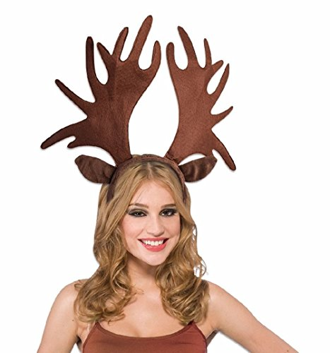 [Jumbo Moose Antlers Animal Adult Headband Giant Ears Brown Costume Accessory] (Giant Bra Costume)
