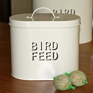 Cream Enamel Metal Bird Food Storage Tin & Cream Enamel Metal Bird Food Storage Tin: Amazon.co.uk: Garden ...