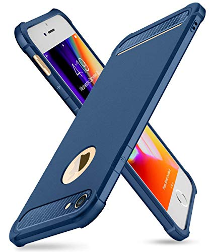 iPhone 7/8 Case with Card Holder and[ Screen Protector Tempered Glass x2Pack] SUPBEC Heavy Duty Shockproof Anti-Scratch Rubber Silicone Wallet Case for iPhone7 /8 4.7 inch -Blue (Iphone 7 Phone Case With Card Holder)
