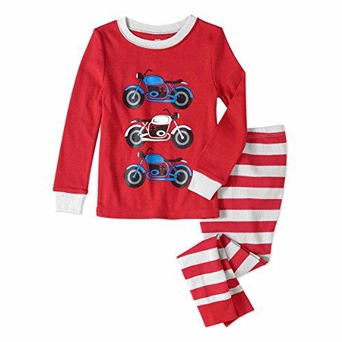 Baby and Toddler Boys Snug Fit Graphic Pajama Long Sleeve Shirt and Pants Two-Piece Set (3T, Motorcycles) (Pants Shirt Pajamas)