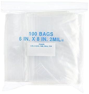 Elkay F20608 2 mil Line Single Track Seal Top Bag, Pint Size, 6