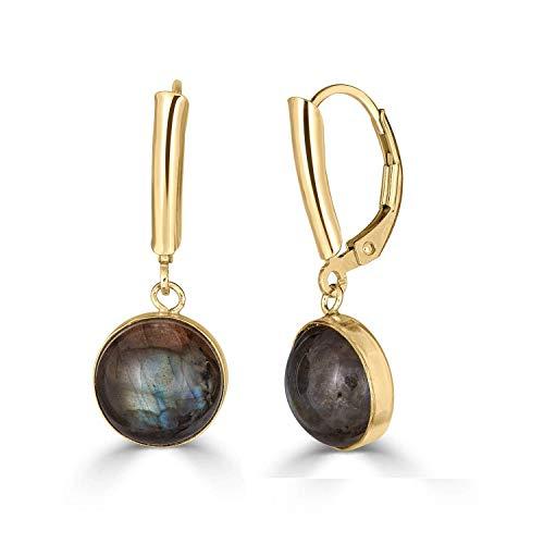 Natural 10 mm Round Labradorite Bezel Set 14K Gold Filled Leverback Dangle Earrings