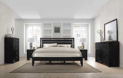 Roundhill Furniture B350KDMN2C Gloria 350 Black Finish Wood Room Set, King Bed, Dresser, Mirror, 2 Night Stands, Chest