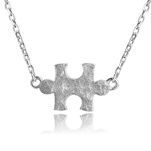 Nik's Knacks Dainty Genuine Sterling Silver Hammered Puzzle Piece Necklace w/16-18 Adjustable Chain Autism Awareness