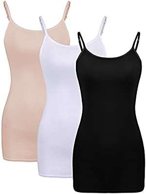 Satinior 3 Pieces Women Basic Layering Long Tanks Adjustable Spaghetti Strap Cami Camisole Tank Top