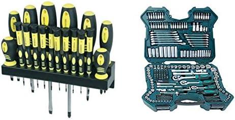 Mannesmann - M11410 - 18 piezas Juego de destornilladores con soporte de pared + Mannesmann M98430 - Maletín con llaves de vaso y otras herramientas: Amazon.es: Bricolaje y herramientas