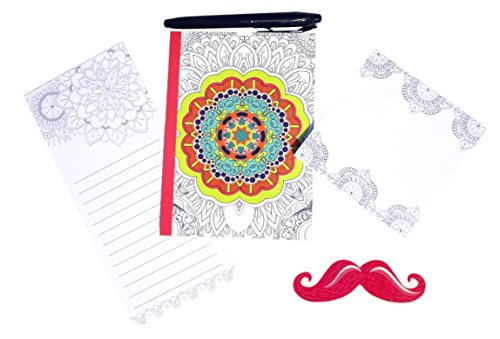 5 Piece Best Adult Coloring Book Idea Journals to Write In Memo Pad Sticky Note Pad Sets Mustache Nail File Unique Stocking Stuffer Christmas Gift Ide…