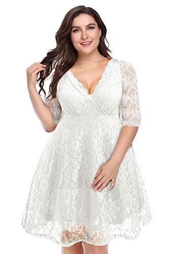 Pinup Fashion Women's Plus Size Lace Bridal Formal Skater Dress White -